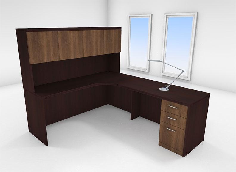 4pc l shaped modern executive office desk set ch amt l1