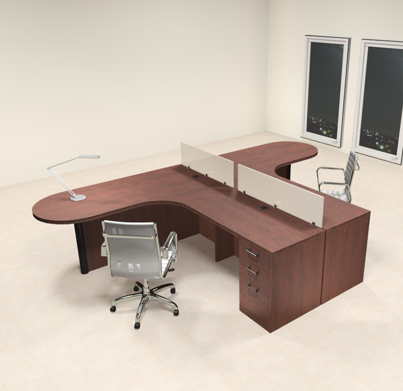 Two person l shaped modern divider office workstation desk set ch amb sp1 color4office - Two person office desk ...