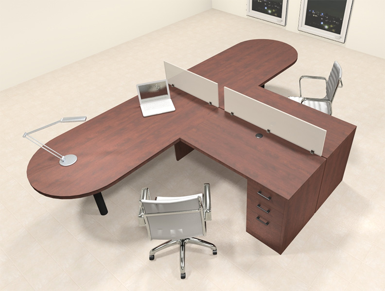 Two person l shaped modern divider office workstation desk set ch amb sp16 ebay - L shaped desk for two people ...
