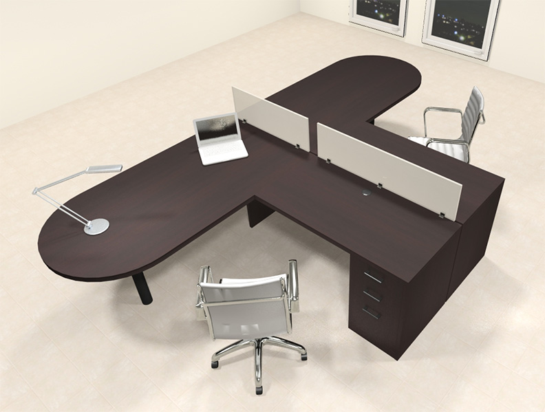 Two person l shaped modern divider office workstation desk set ch amb sp17 h2o furniture - L shaped desk for two people ...