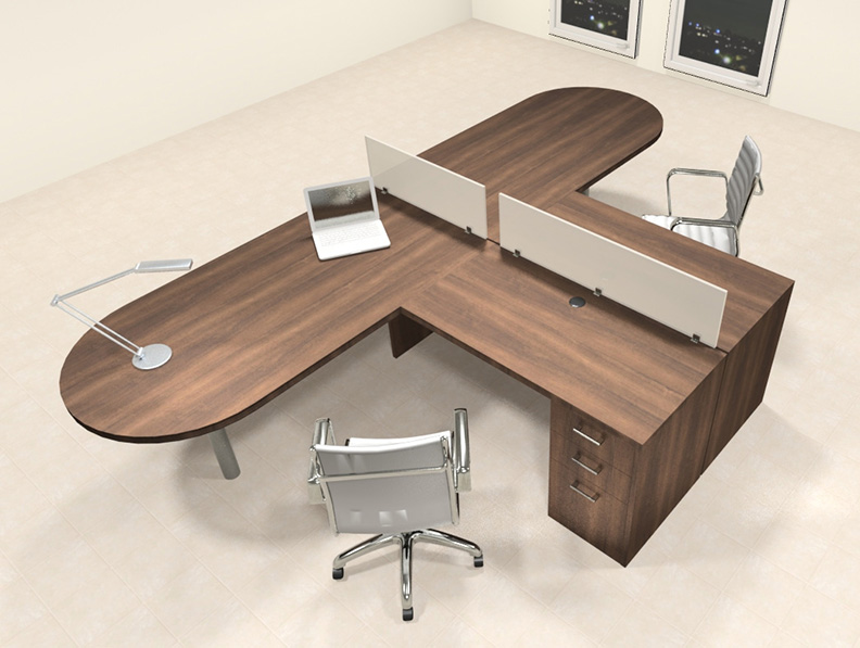 Two person l shaped modern divider office workstation desk set ch amb sp19 color4office - L shaped desk for two people ...