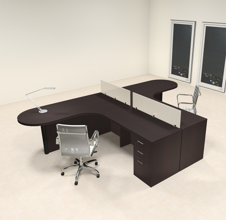 Two person l shaped modern divider office workstation desk Desk for two persons