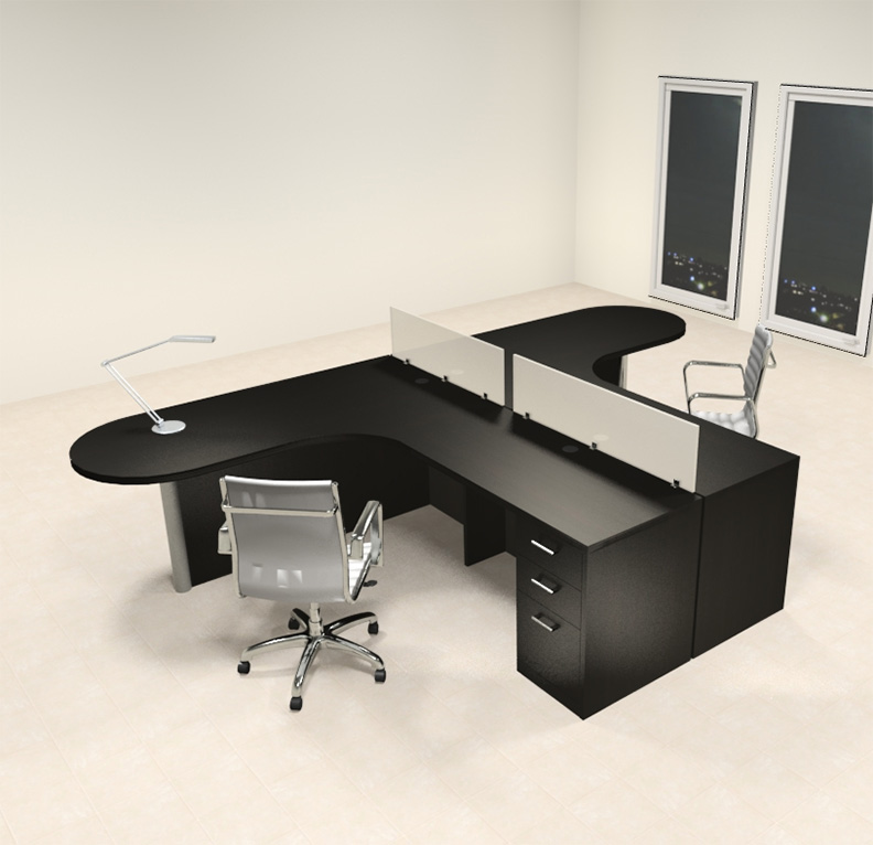 Two person l shaped modern divider office workstation desk set ch amb sp3 - L shaped desk for two people ...