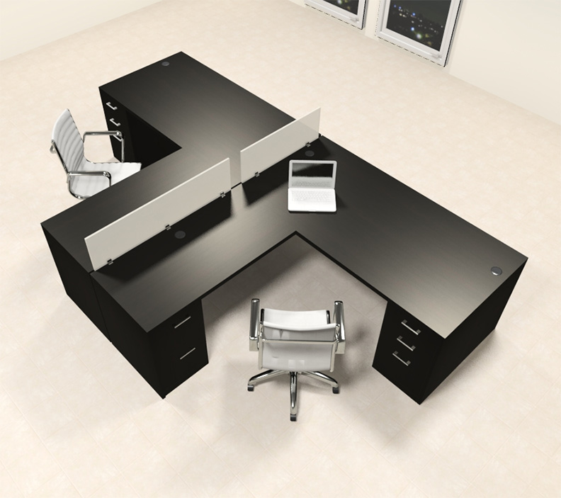 Two person l shaped modern divider office workstation desk set ch amb sp33 h2o furniture - L shaped desk for two people ...