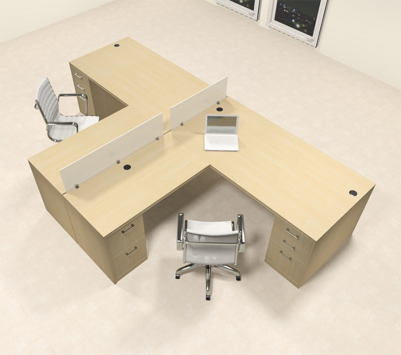 Two person l shaped modern divider office workstation desk set ch amb sp35 ebay - L shaped desk for two people ...