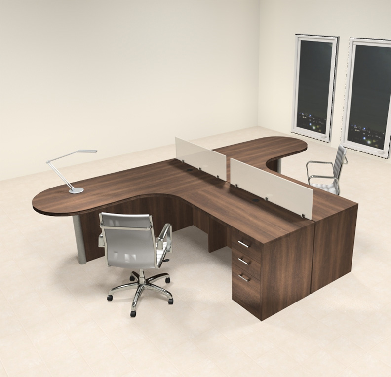 Two person l shaped modern divider office workstation desk set ch amb sp4 - L shaped desk for two people ...