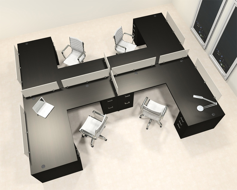 Four Person L Shaped Modern Divider Office Workstation