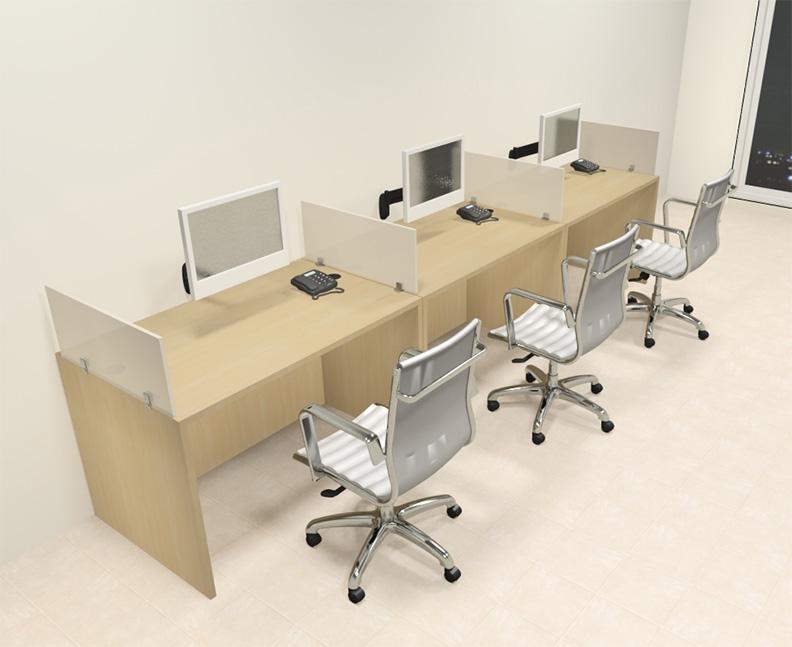 Three Person Modern Divider fice Workstation Desk Set