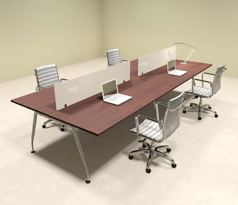 Office Table For 4 Person: Four Person Modern Divider Office Workstation Desk Set