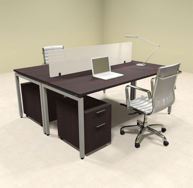 Two person modern divider office workstation desk set of con fp23 ebay - Two person office desk ...