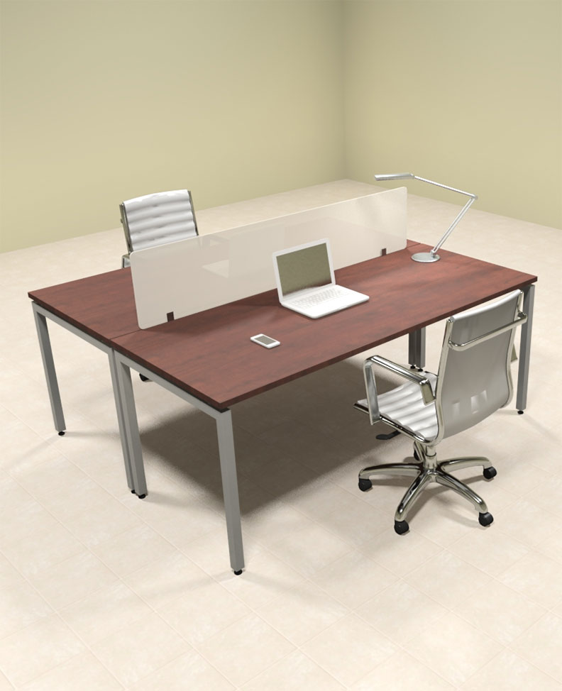 Two person modern divider office workstation desk set of con fp3 ebay - Two person office desk ...