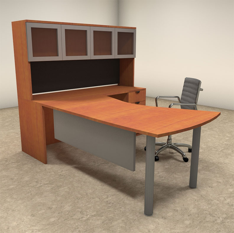 4pc l shaped modern contemporary executive office desk set of con