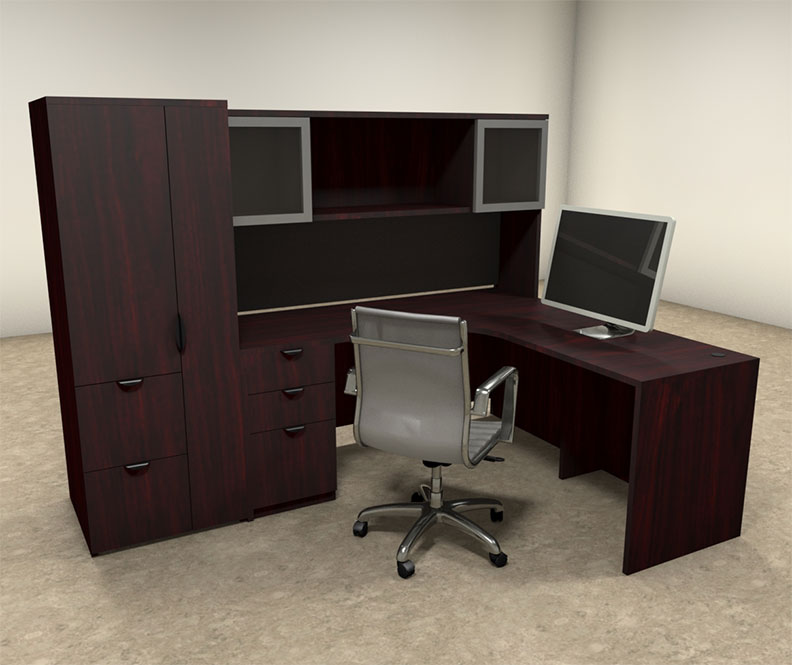 5pc l shaped modern contemporary executive office desk set of con