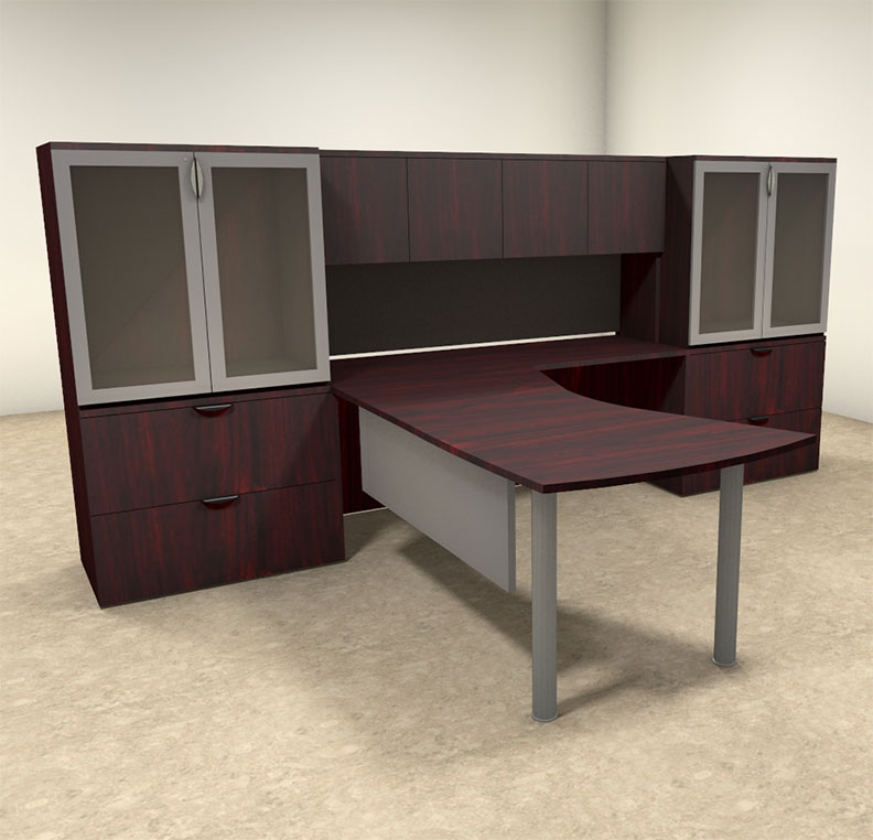 5pc l shaped modern contemporary executive office desk set of con l3