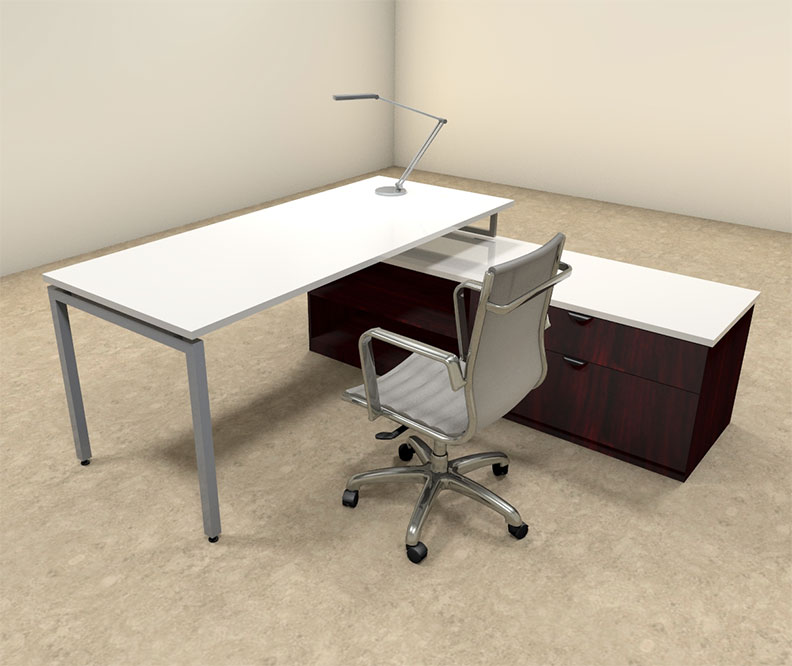 2pc l shaped modern contemporary executive office desk set of con