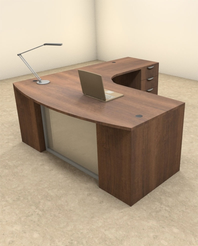 3pc l shaped modern contemporary executive office desk set of con