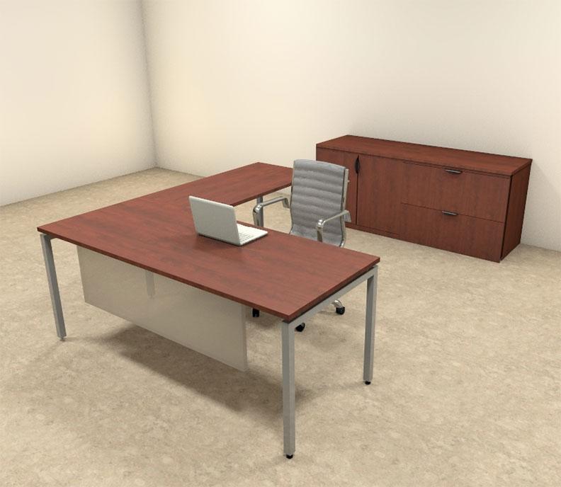 3pc l shaped modern contemporary executive office desk set