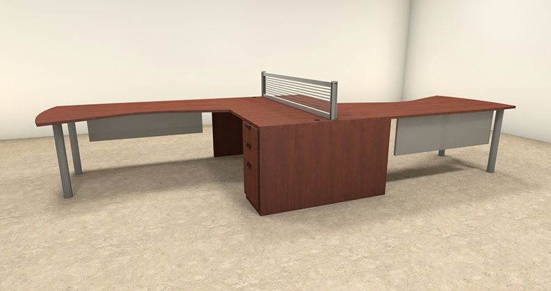 6pc l shaped modern contemporary executive office desk set of con l7