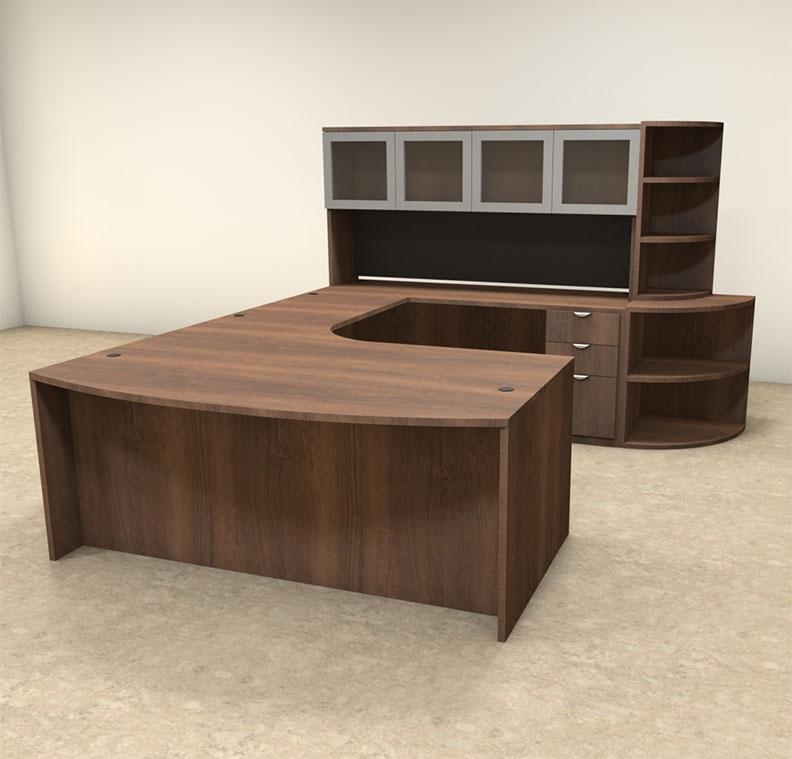 6pc u shaped modern contemporary executive office desk set of con u14 ebay. Black Bedroom Furniture Sets. Home Design Ideas