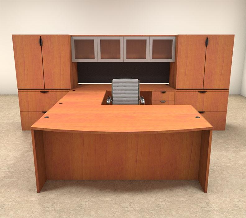 7pc u shaped modern contemporary executive office desk set of con u16 ebay. Black Bedroom Furniture Sets. Home Design Ideas