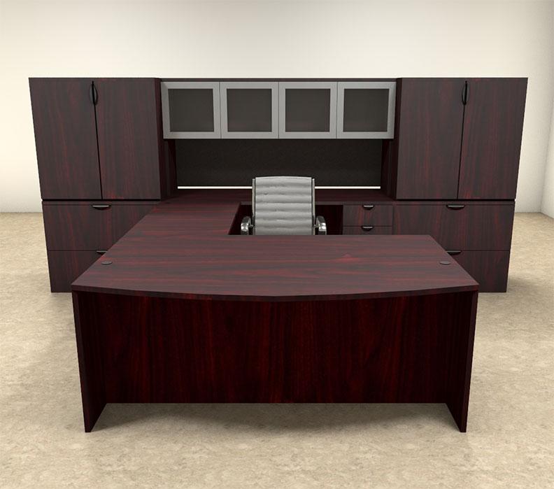 7pc u shaped modern contemporary executive office desk set of con u18 ebay. Black Bedroom Furniture Sets. Home Design Ideas