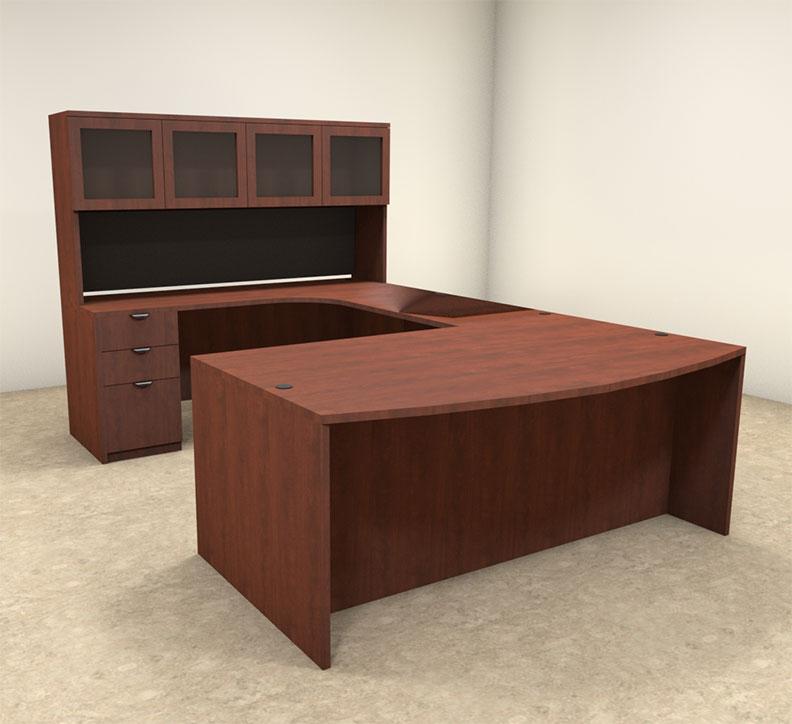 5pc u shaped modern contemporary executive office desk set of con u2. Black Bedroom Furniture Sets. Home Design Ideas