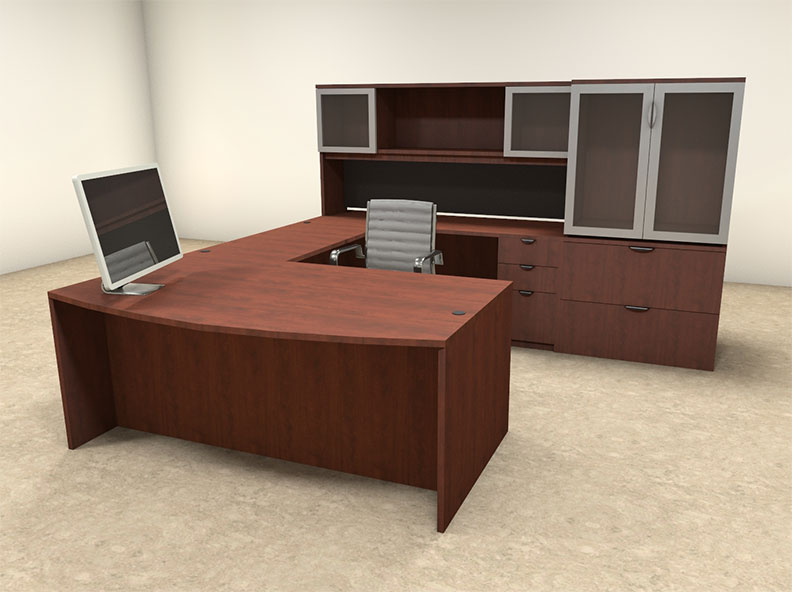 6pc u shaped modern contemporary executive office desk set of con u32 ebay. Black Bedroom Furniture Sets. Home Design Ideas