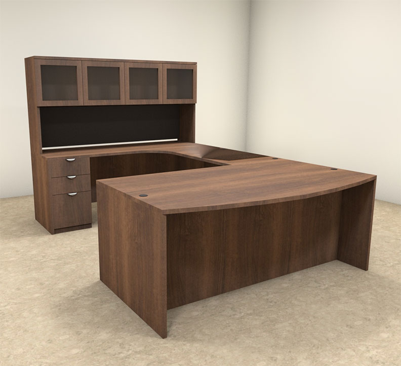 5pc U Shaped Modern Contemporary Executive Office Desk Set