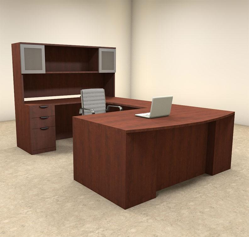 6pc u shaped modern contemporary executive office desk set of con u62 ebay. Black Bedroom Furniture Sets. Home Design Ideas
