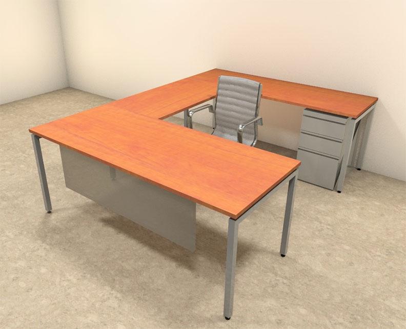 4pc u shaped modern contemporary executive office desk set of con u66 ebay. Black Bedroom Furniture Sets. Home Design Ideas