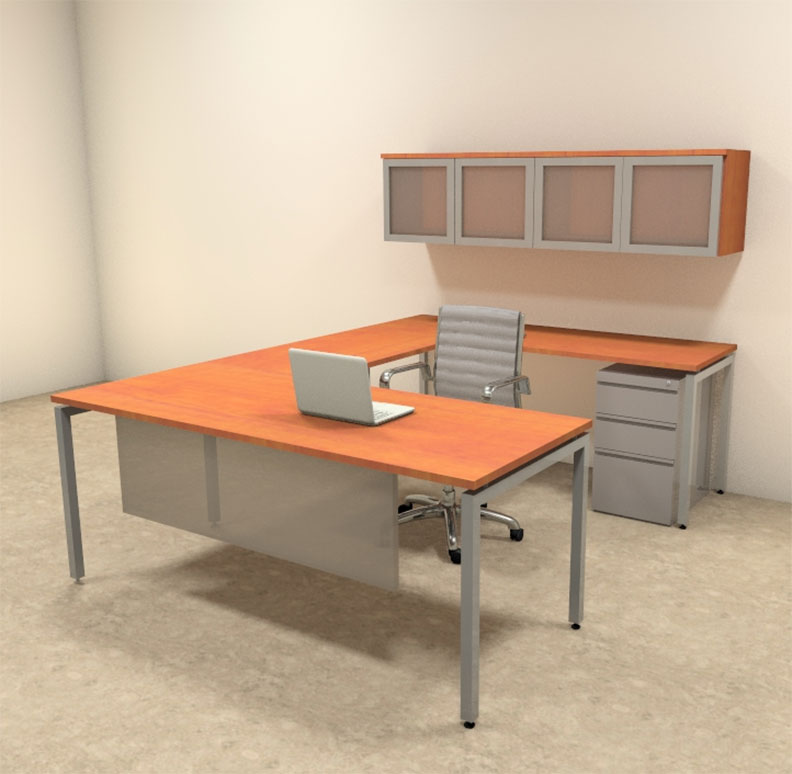 5pc u shaped modern contemporary executive office desk set of con u71 ebay. Black Bedroom Furniture Sets. Home Design Ideas