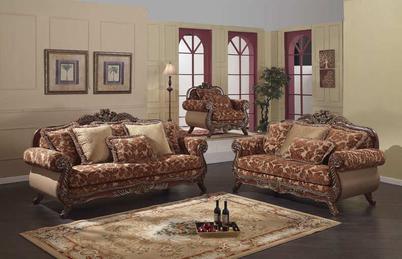 3pc Traditional Classic Fabric Sofa Set MH 711 S1 EBay