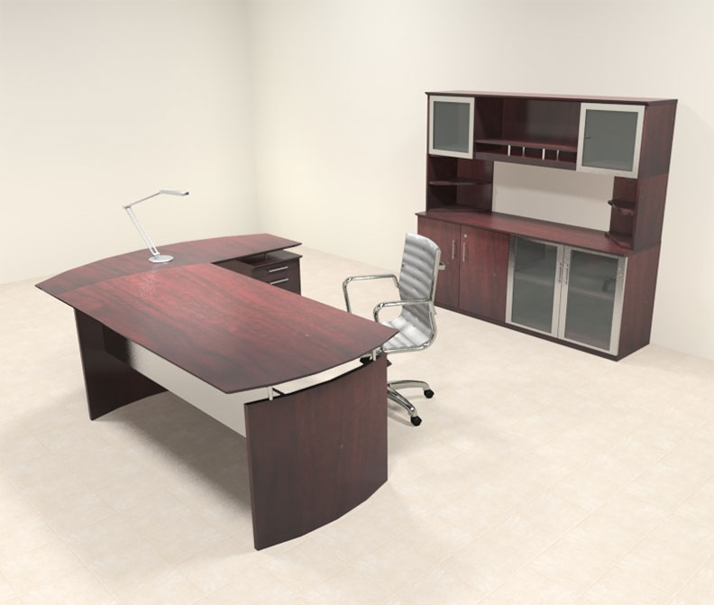 4pc modern contemporary l shaped executive office desk set mt med