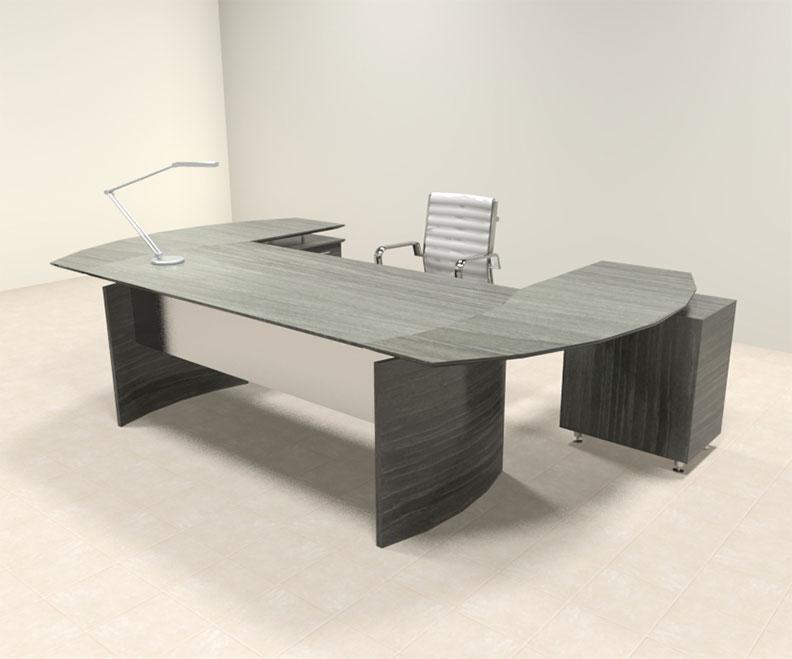 3pc modern contemporary u shaped executive office desk set mt med o7. Black Bedroom Furniture Sets. Home Design Ideas