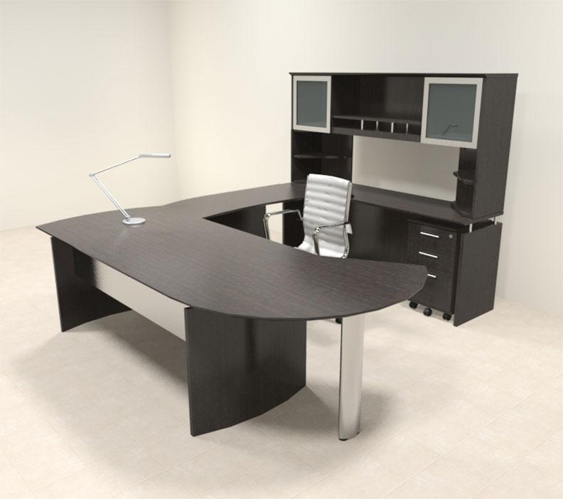 6pc modern contemporary u shaped executive office desk set mt med u15 ebay. Black Bedroom Furniture Sets. Home Design Ideas