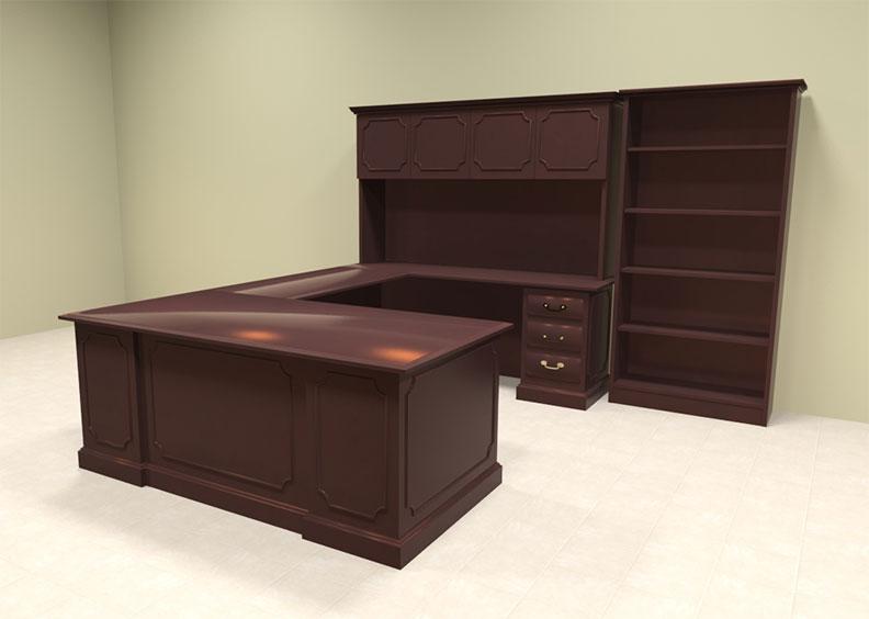 8pc wood traditional u shaped executive office desk set of tra u4 ebay. Black Bedroom Furniture Sets. Home Design Ideas