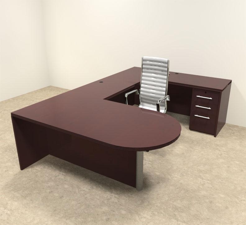 4pc modern wood veneer u shaped executive office desk set of tec u10 ebay. Black Bedroom Furniture Sets. Home Design Ideas