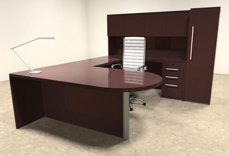 6pc modern wood veneer u shaped executive office desk set of tec u16 ebay. Black Bedroom Furniture Sets. Home Design Ideas