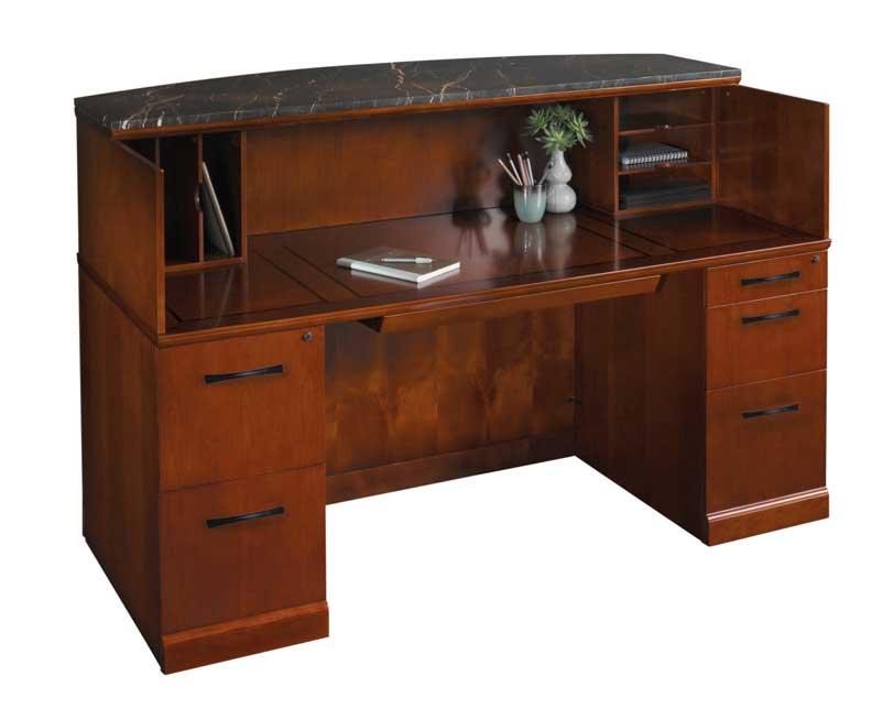 Wood reception desk car interior design