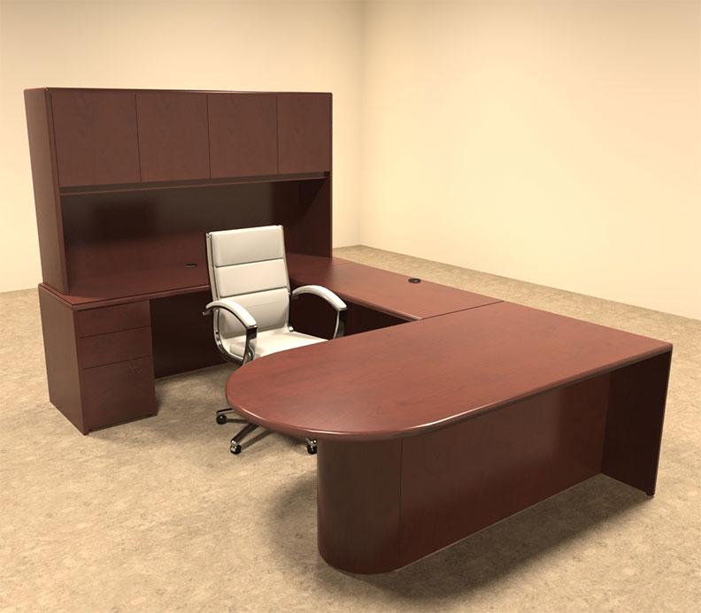 5pc u shaped modern contemporary executive office desk set ot mar u5 ebay. Black Bedroom Furniture Sets. Home Design Ideas