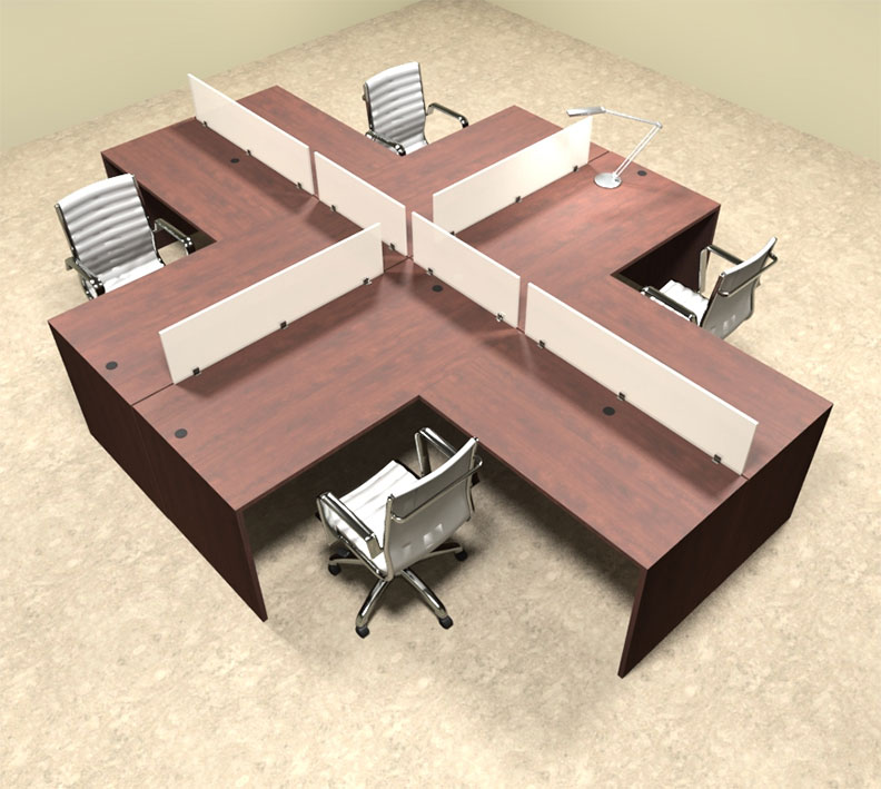 Four person l shaped divider office workstation desk set ot sul fp30 color4office - L shaped desk for two people ...