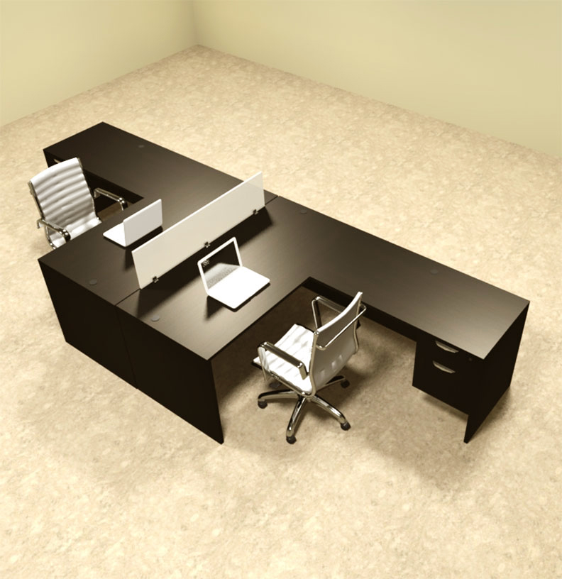 Two person l shaped divider office workstation desk set ot sul fp40 - L shaped desk for two people ...