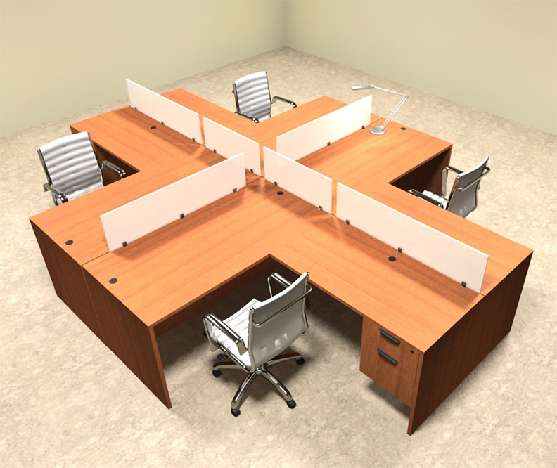Four person l shaped divider office workstation desk set ot sul fp41 h2o furniture - L shaped desk for two people ...