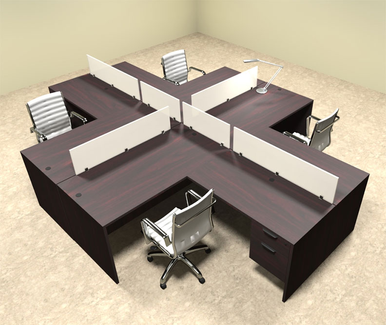 Four person l shaped divider office workstation desk set ot sul fp43 color4office - L shaped desk for two people ...