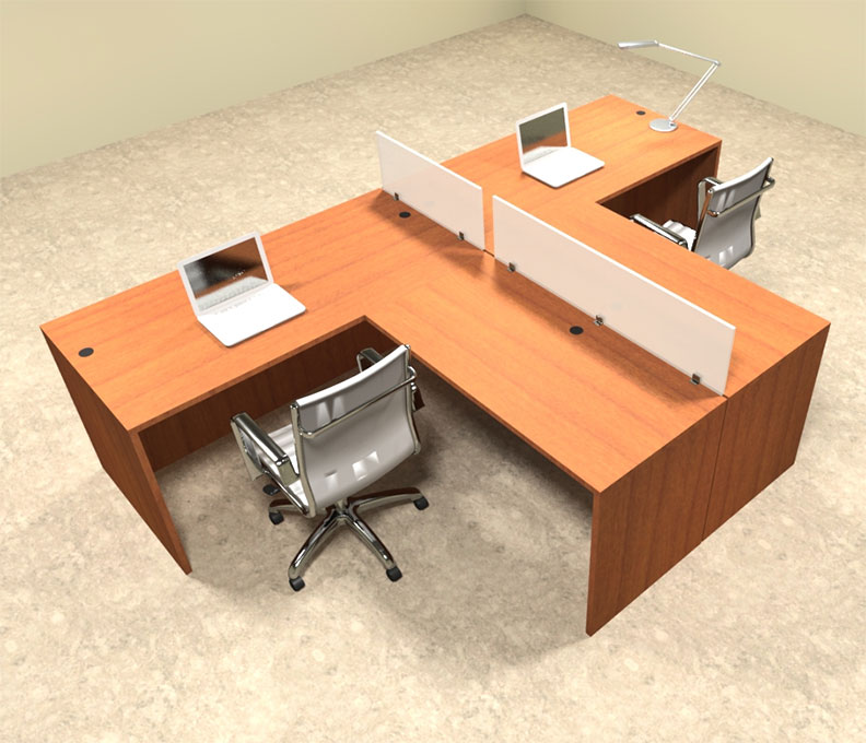 Two person l shaped divider office workstation desk set ot sul sp41 - L shaped desk for two people ...