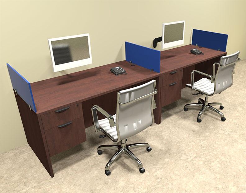Two Person Blue Divider Office Workstation Desk Set Ot