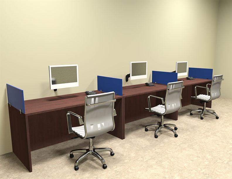 Three Person Blue Divider fice Workstation Desk Set OT