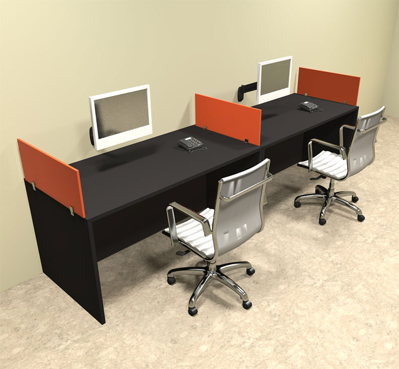 Two person orange divider office workstation desk set ot sul spo4 ebay - Two person office desk ...