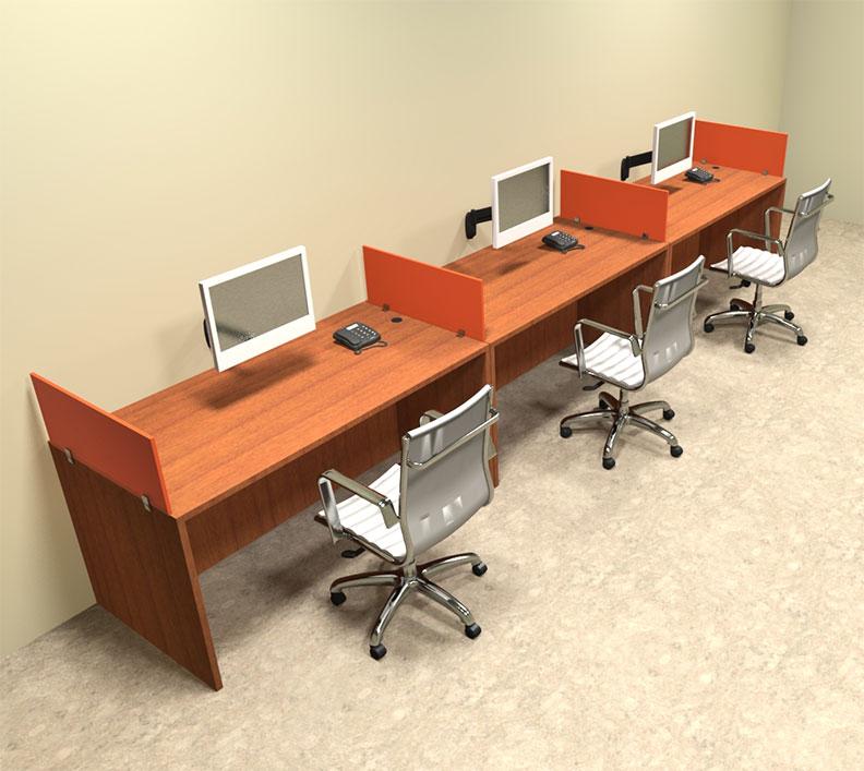 Three Person Orange Divider fice Workstation Desk Set