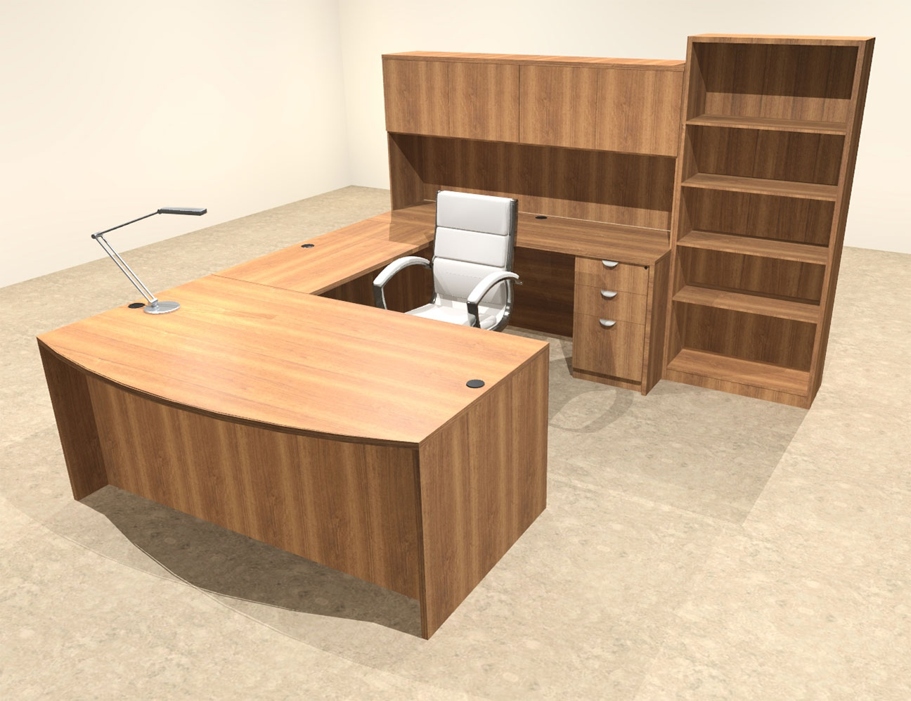 6pc u shaped modern executive office desk ot sul u29 ebay. Black Bedroom Furniture Sets. Home Design Ideas